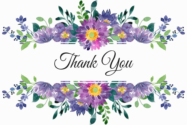Bedankkaart met paars groene bloemen aquarel