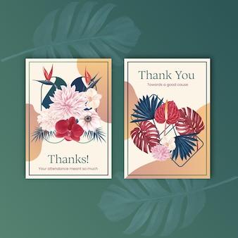 Bedankkaart met pampa's bloemenwaterverf Premium Vector