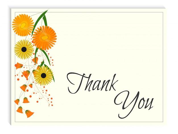 Bedankkaart met waterverfbloemen op beige achtergrond.