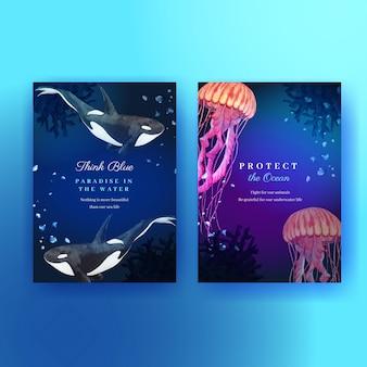 Bedankkaart met zeeleven conceptontwerp aquarel illustratie Premium Vector