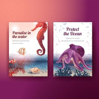Bedankkaart met zeeleven conceptontwerp aquarel illustratie