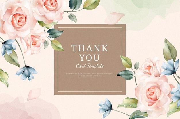 Bedankkaartsjabloon met aquarel rozen frame