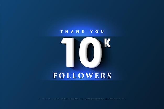 Bedankt 10.000 volgers met lichtblauw Premium Vector