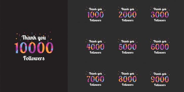 Bedankt 1000 tot 10000 volgers sjabloonontwerp