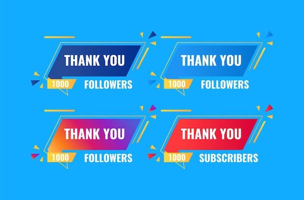 Bedankt 1000 volgers en bannerontwerp voor abonnees