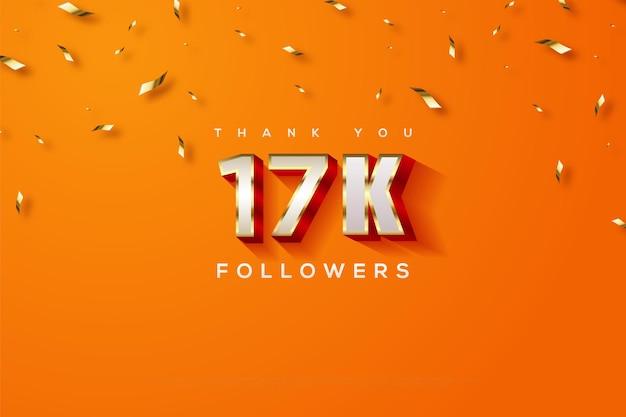 Bedankt 17k volgers met een oranje achtergrond met confetti-regen Premium Vector