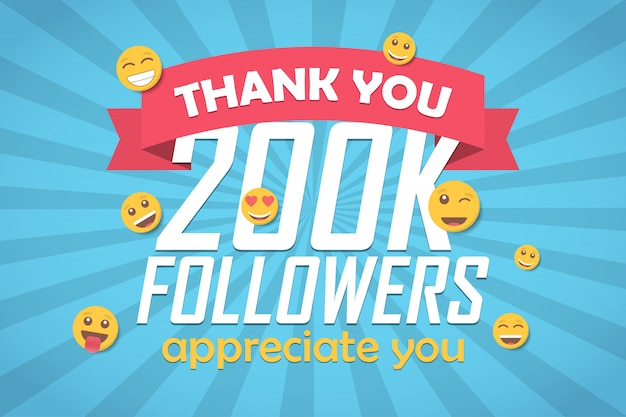 Bedankt 200k volgers gefeliciteerd achtergrond met emoticon.