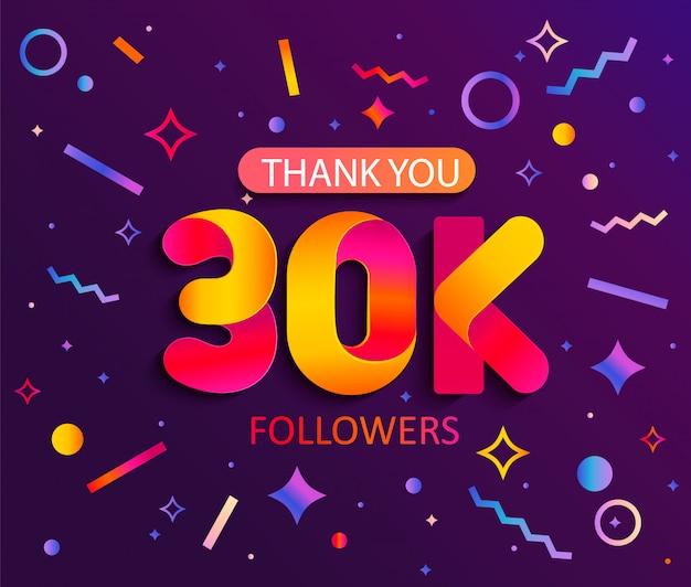 Bedankt 30000 volgers, bedankt banner.