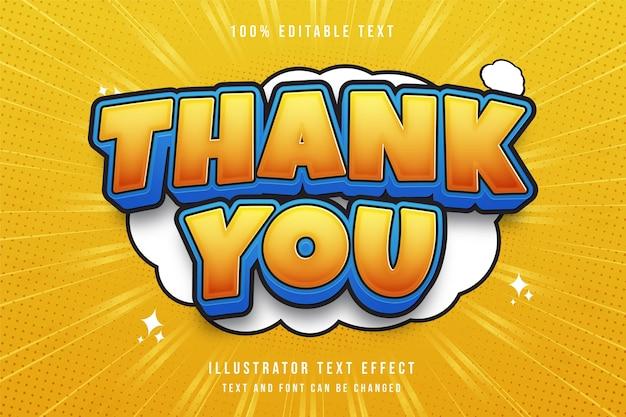 Bedankt, 3d bewerkbaar teksteffect blauwe gradatie geeloranje moderne schaduwkomische stijl