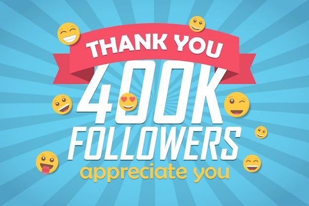 Bedankt 400k volgers felicitatie achtergrond met emoticon.