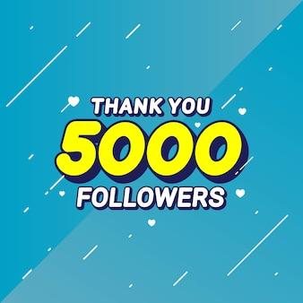 Bedankt 5000 volgers felicitatie banner