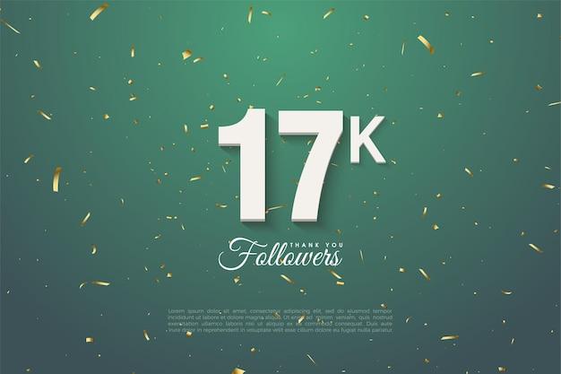 Bedankt aan 17k volgers op een groene bladachtergrond