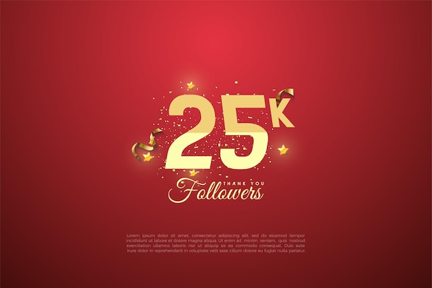 Bedankt aan 25.000 volgers met getallen en stralende gouden sterren.
