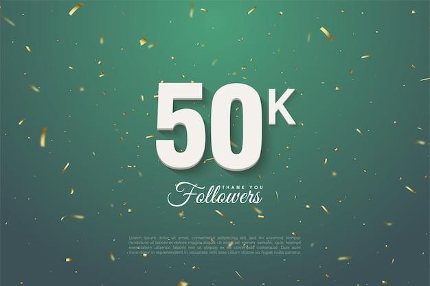 Bedankt aan 50k volgers met cijfers op een groene achtergrond van goud gespikkelde bladeren.