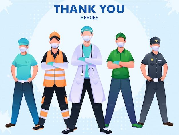 Bedankt aan dokter, politie, arbeidershelden om te vechten tegen het coronavirus (covid-19).