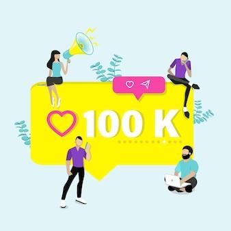 Bedankt, achtergrond 100.000 volgers. platte vectorillustratie.