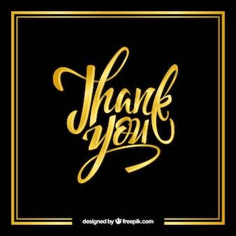 Bedankt achtergrond met gouden letters