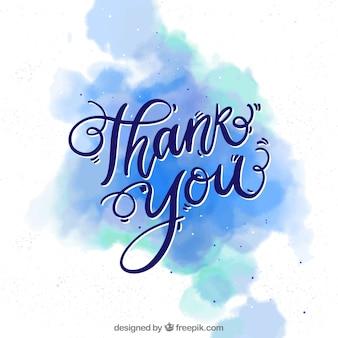 Bedankt achtergrond met letters in aquarel vlek