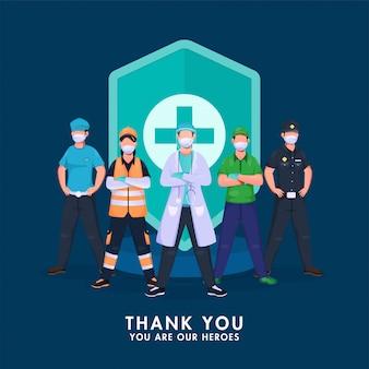 Bedankt alle krijgers die vechten tegen het coronavirus met een medisch beveiligingsschild op een blauwe achtergrond.