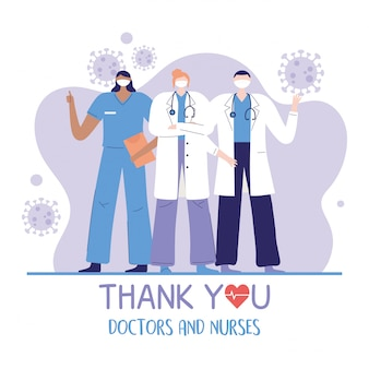 Bedankt artsen en verpleegkundigen, teamgroepsarts en verpleegkundig ziekenhuis