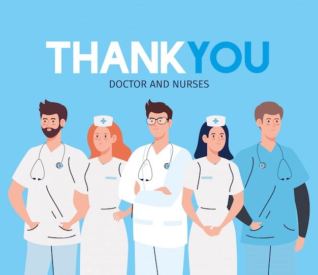 Bedankt artsen en verpleegsters die in ziekenhuizen werken en het coronavirus covid 19 vectorillustratieontwerp bestrijden