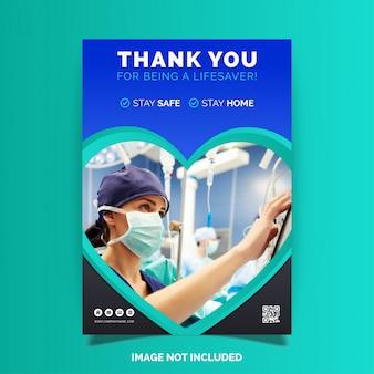 Bedankt artsen en verpleegsters, flyer-ontwerp