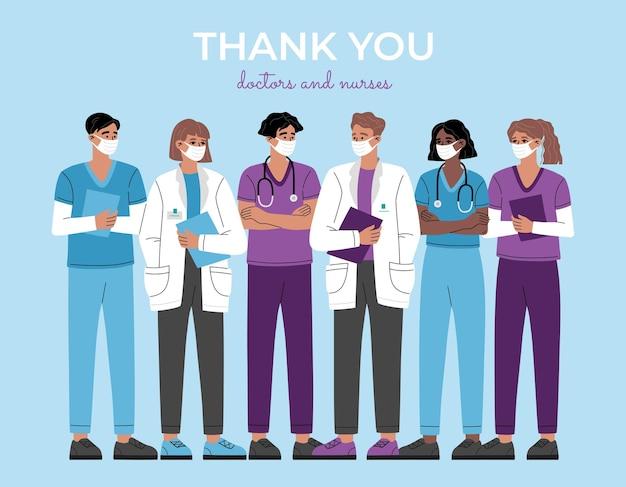 Bedankt artsen, verpleegsters en medisch personeel, heldengroep van eerstelijnsmedewerkers in de gezondheidszorg. professionele therapeut en ziekenhuispersoneel.