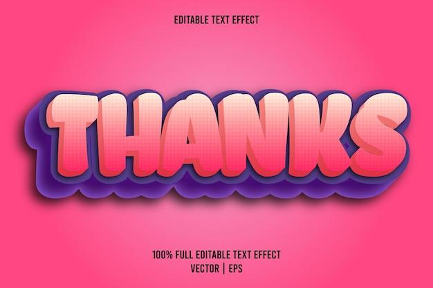 Bedankt bewerkbare teksteffect komische stijl