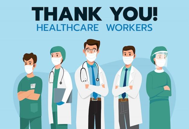 Bedankt dappere gezondheidszorg die werkt voor de strijd tegen covid-19 coronavirus-infectie. illustratie