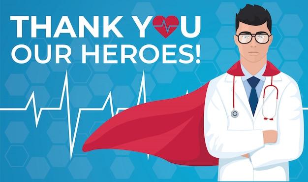 Bedankt dokter en verpleegkundigen en medisch personeel. vector illustratie