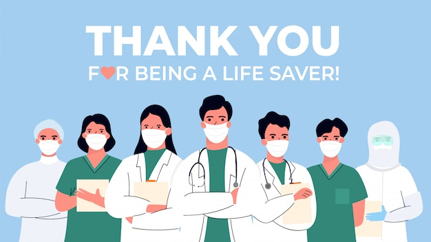 Bedankt dokter en verpleegkundigen en medisch personeel voor het bestrijden van het coronavirus. illustratie