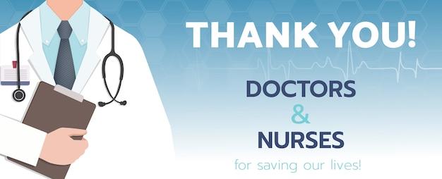Bedankt dokter en verpleegkundigen voor het redden van ons leven van covid-2019-bannermalplaatje.