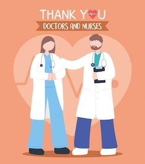 Bedankt, dokters, verpleegsters, vrouwelijke en mannelijke artsen met karakters