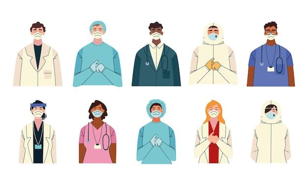 Bedankt, doktersverpleegkundigen en medisch personeelsteam voor het bestrijden van de illustratie van het coronavirus