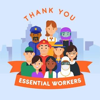 Bedankt essentieel werknemers plat ontwerp