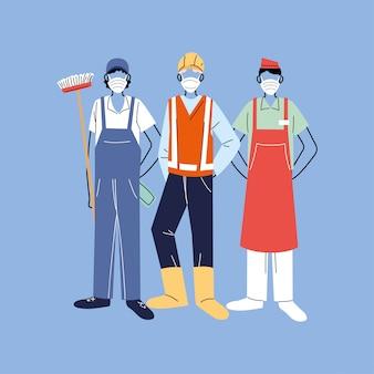 Bedankt essentiële arbeiders, verschillende beroepen, mensen die gezichtsmaskers dragen