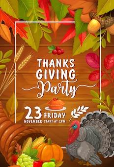 Bedankt. feestje met pompoen, taart met cranberry en kalkoen. uitnodiging voor thanksgiving day-viering, cartoon kaart met hoorn des overvloeds, esdoorn, berken, populier en eikenbladeren met gewas