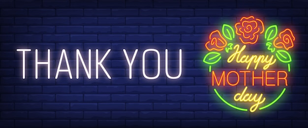 Bedankt, gelukkige moederdag neon tekst met bloemen