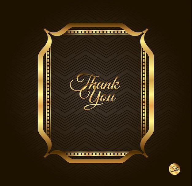 Bedankt, gouden lijst. uitstekende gouden achtergrond, vector antiek kader op zwarte