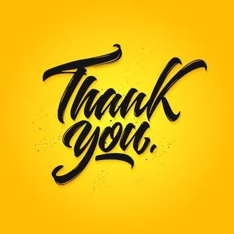 Bedankt kalligrafie, met de hand getekende letters op een gele achtergrond.