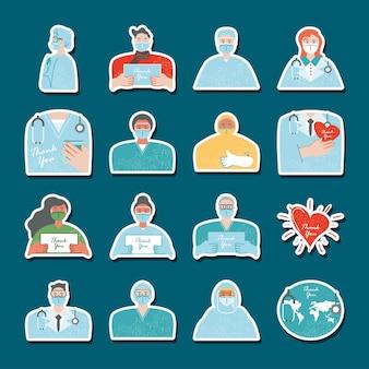 Bedankt, medisch personeel karakters wereldhart, pictogrammen stickers illustratie