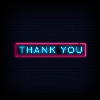 Bedankt neon tekst teken. lichte banner poster.