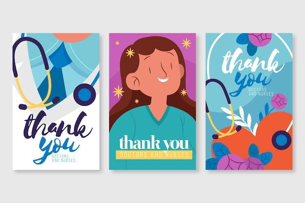 Bedankt postkaartcollectie van artsen en verpleegsters
