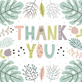 Bedankt schattige kaart met handgetekende bladeren en planten