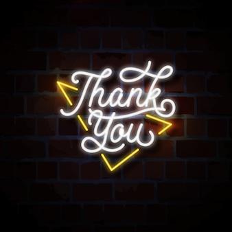 Bedankt script neon teken illustratie