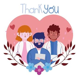 Bedankt, stafmedisch professionele karakters in hartillustratie