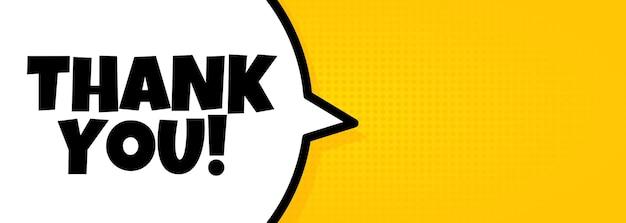 Bedankt. tekstballon banner met dank u tekst. luidspreker. voor zaken, marketing en reclame. vector op geïsoleerde achtergrond. eps-10.