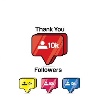 Bedankt volgers 10k. instagram achtig, isometrisch pictogram