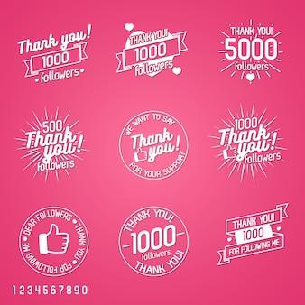 Bedankt volgers label set geïsoleerd op roze achtergrond. ontwerpelementen, borden, logo's, identiteit, etiketten, insignes, kleding, linten, stickers en andere objecten. illustratie