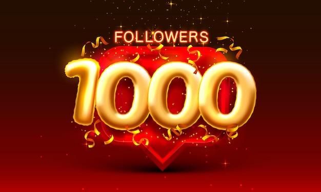 Bedankt volgers volkeren k online sociale groep happy banner vieren vector